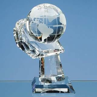 8cm Optical Crystal Globe on Mounted Hand Award