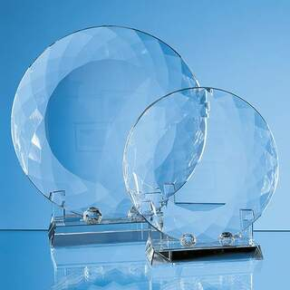 20cm Optical Crystal Facet Plate with Stand