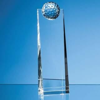 24cm Optical Crystal Golf Ball Rectangle Award