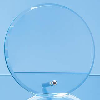 15cm x 1cm Jade Glass Bevel Edged Circle with Chrome Pin