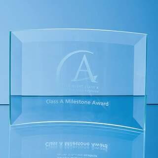 7.5cm x 12cm x 5mm Jade Glass Bevelled Crescent