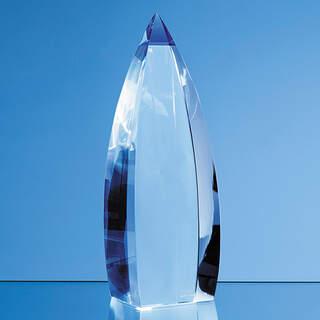 23cm Nik Meller Design Clear Optical Crystal & Cobalt Blue Vetri Obelisk Award
