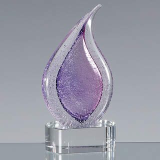 17cm Handmade Glass Frosted Heather Teardrop Award